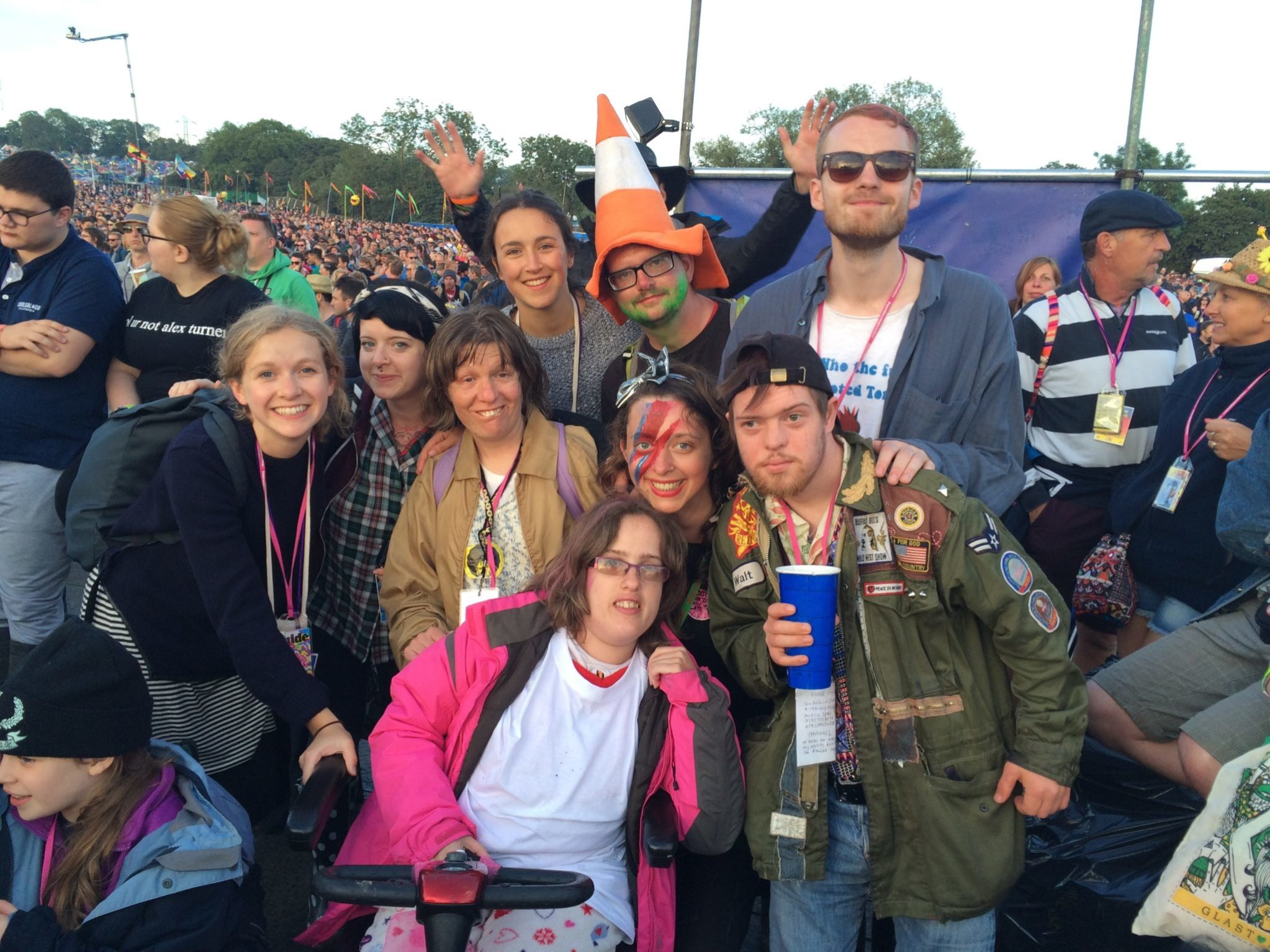 Group of friends at Glastonbury festival