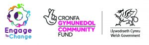 Logos for Engage to Change, National Lottery Community Fund and Welsh Government