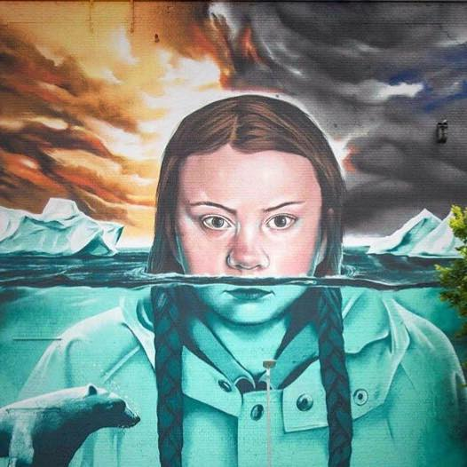 Illustration of Greta Thunberg submerged in water with her head above the water, like an iceberg