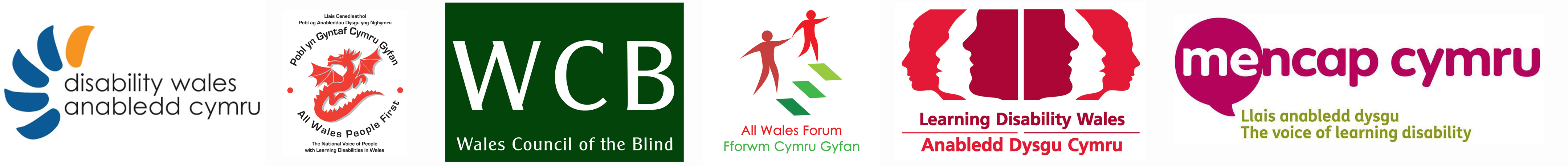 six logos of welsh national disability organisations