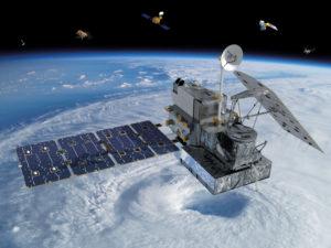 A satellite orbiting earth